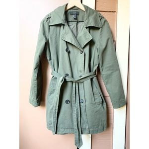 Forever 21 Olive Green Button Up Trench Coat Small